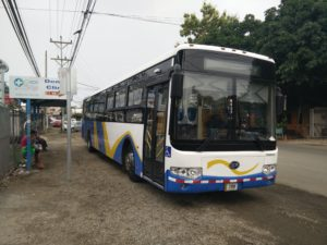 The bus from Playa del Coco to Liberia