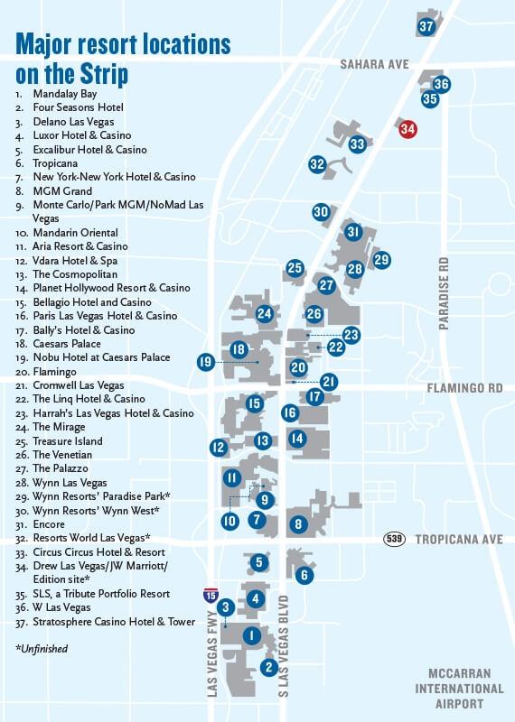 Las Vegas Strip Map Dutch Mermaid